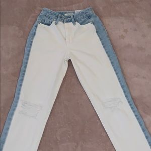 Two toned mom jeans